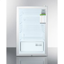 """ADA Compliant 20"""" Wide Commercial Glass Door Refrigerator for Freestanding Use, Auto Defrost With A Lock, Traceable Thermometer and Internal Fan"""
