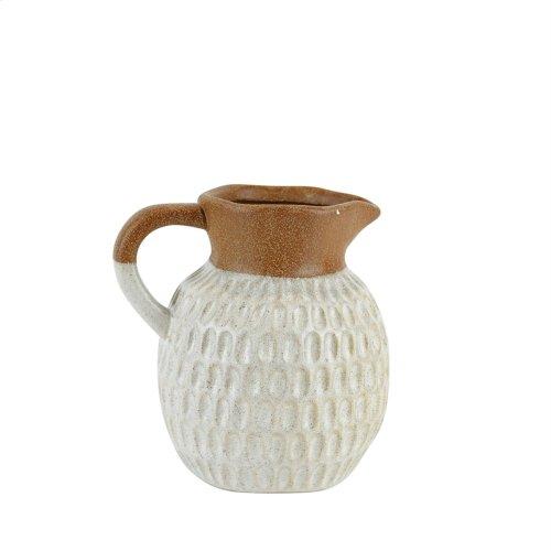 "Ceramic Organic Dimpled Pitcher, 6.75"" Gray"