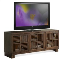 Modern Gatherings Open Slat TV Console Brushed Acacia finish