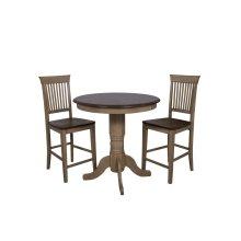 """DLU-BR3636CB-B70-PW3PC  3 Piece 36"""" Round Pub Table Set with Fancy Slat Stools"""
