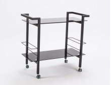 Serving Cart Blk Tmper Gls