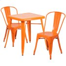 23.75'' Square Orange Metal Indoor-Outdoor Table Set with 2 Stack Chairs Product Image