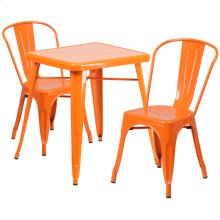 23.75'' Square Orange Metal Indoor-Outdoor Table Set with 2 Stack Chairs