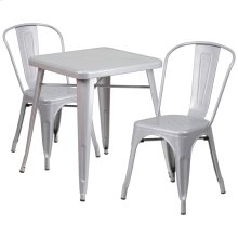23.75'' Square Silver Metal Indoor-Outdoor Table Set with 2 Stack Chairs
