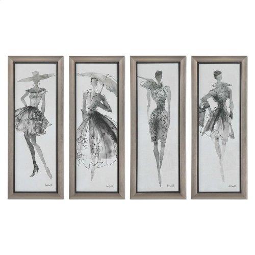 Fashion Sketchbook Framed Prints, S/4