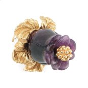 Gold Plate Amethyst Rose Bud Pull