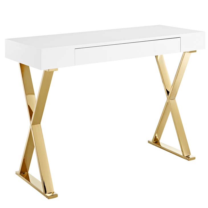 Sector Stainless Steel Console Table In White Gold