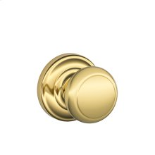 Andover Knob with Andover trim Hall & Closet Lock - Bright Brass