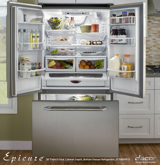 Renaissance 36  Epicure French Door Freestanding Cabinet-Depth Bottom Freezer Refrigerator In Stainless Steel & EF36BNNFSS Dacor