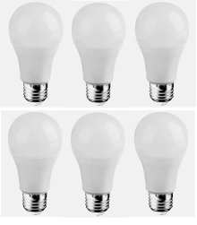 LED A19, 3000K, 300°, CRI80, ES, UL, 6.5W, 40W EQUIVALENT, 25000HRS, LM480, DIMMABLE, 3 YEARS WARRANTY, INPUT VOLTAGE 120V 6 PACK