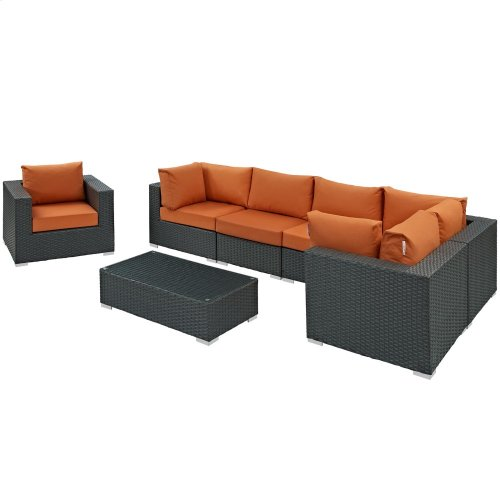Sojourn 7 Piece Outdoor Patio Sunbrella® Sectional Set in Canvas Tuscan