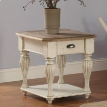 Coventry Two Tone - Rectangular Side Table - Weathered Driftwood/dover White Finish