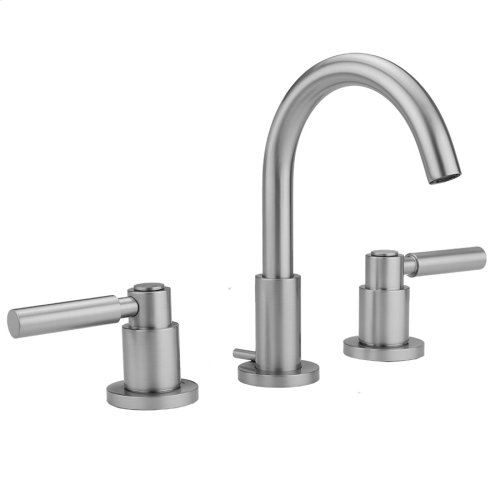 Unlacquered Brass - Uptown Contempo Faucet with Round Escutcheons & High Lever Handles- 0.5 GPM