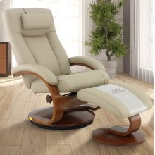 Cobblestone (Tan) Top Grain Leather with Walnut Finish Reclines Swivels Adjustable Cervical Pillow Quality Top Grain Leather Angled Ottoman