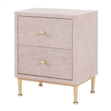 Ricci Raffia Pattern End Table 2 Drawers Brushed Gold Legs, Cream