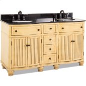 """60-1/2"""" double vanity with antique crackled Buttercream finish, simple bead board doors, and curved shape with preassembled top and bowl."""
