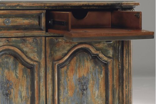 Two-Door Two-Drawer Chest w/Bun Feet
