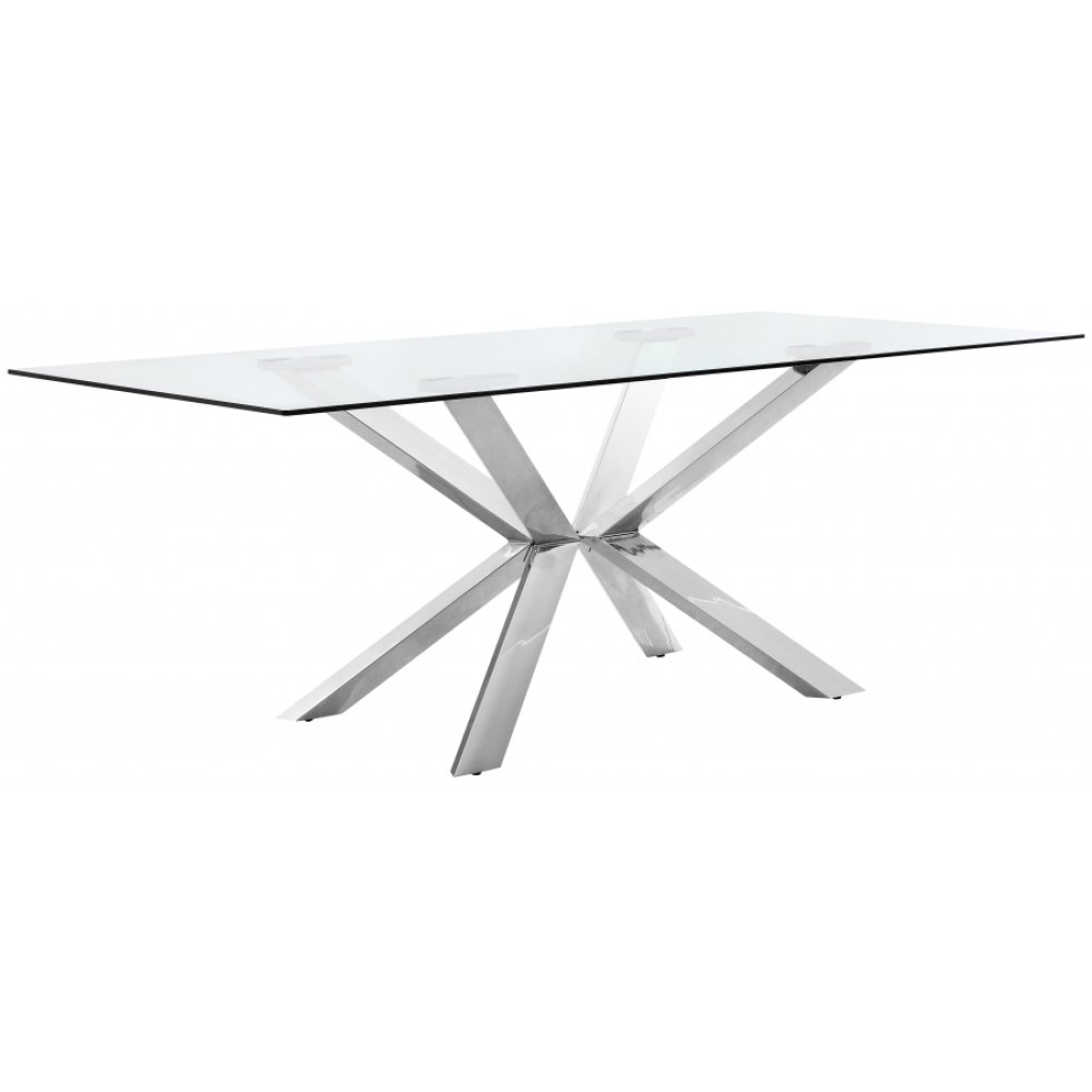 "Juno Chrome Dining Table - 78"" W x 39"" D x 30"" H"