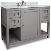 """This 48"""" vanity has a grey finish, satin nickel hardware and clean lines with a stepped door profile. Includes preassembled top and bowl."""