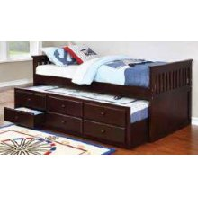 Transitional Cappuccino Twin Daybed With Trundle