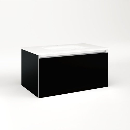 """Cartesian 30-1/8"""" X 15"""" X 18-3/4"""" Single Drawer Vanity In Black With Slow-close Full Drawer and Night Light In 5000k Temperature (cool Light)"""