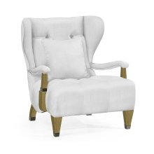 Modern Winged Natural Oak Occasional Chair, Upholstered in COM