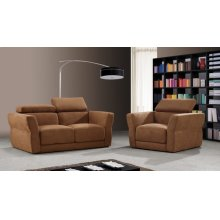 Divani Casa 0826A Modern Brown Fabric Sofa Set