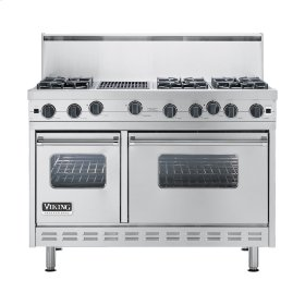 "Stainless Steel 48"" Open Burner Commercial Depth Range - VGRC (48"" wide, six burners 12"" wide char-grill)"