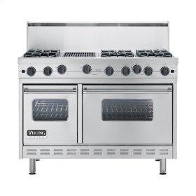 "Stainless Steel 48"" Open Burner Commercial Depth Range - VGRC (48"" wide, six burners 12"" wide char-grill)"