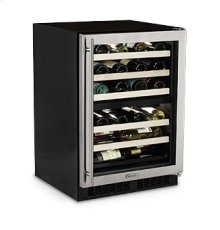 "24"" High Efficiency Dual Zone Wine Cellar - Stainless Frame Glass Door - Right Hinge"