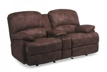 Dylan Leather Power Reclining Loveseat with Console and Chaise Footrests