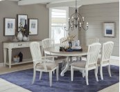 Rockport 7-piece Round Dining Set With Arm Chairs and Side Chairs - White With Driftwood Top