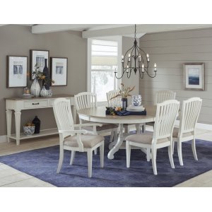 Hillsdale FurnitureRockport 7-piece Round Dining Set With Arm Chairs and Side Chairs - White With Driftwood Top