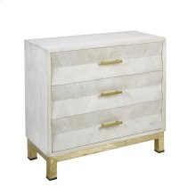 "Wood 34"" 3 Drawer Cabinet W/chevron Design, White Wash"