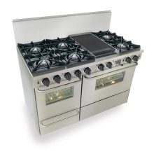 "48"" Dual Fuel, Convect, Self Clean, Open Burners, Stainless Steel"