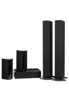 Five piece 5.1 channel ultimate home theater speaker system with built-in powered subwoofers