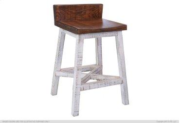 "24"" Stool - with wooden seat & base- White finish"