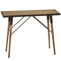 Natural Wash Console Table with Distressed Metal Edge. Product Image