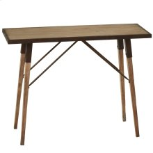 Natural Wash Console Table with Distressed Metal Edge.
