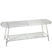 Distressed White Bench