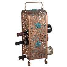 Copper and Turquoise Eight Wine Bottle Wine Holder
