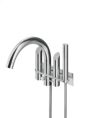 Wall mounted bath filler with hand shower