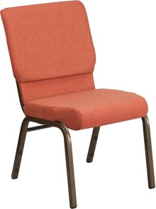HERCULES Series 18.5''W Stacking Church Chair in Cinnamon Fabric - Gold Vein Frame