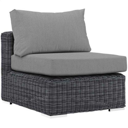 Summon 5 Piece Outdoor Patio Sunbrella® Sectional Set in Canvas Gray