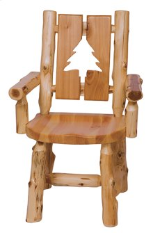Cut-out Arm Chair Pine Tree, Wood Seat
