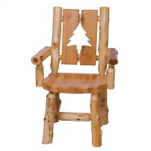 Cut-out Arm Chair - Pine Tree - Natural Cedar - Wood Seat