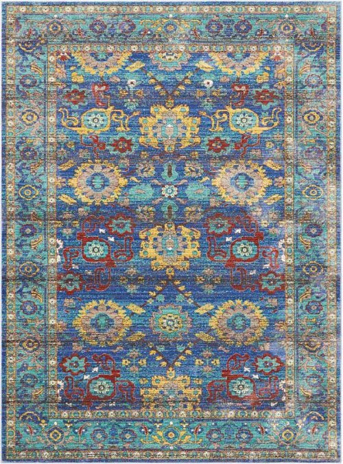 Delmar Dlm04 Blue Rectangle Rug 5'3'' X 7'3''