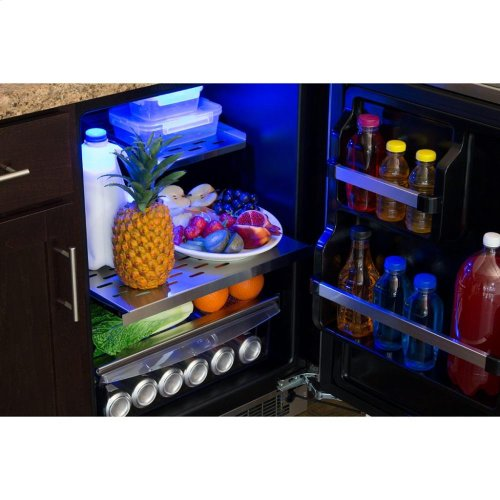 "24"" All Refrigerator with Drawer Storage - Solid Stainless Door With Lock - Integrated Left Hinge, Professional Handle"