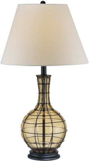 Table Lamp, BLK/L.AMBER Glass Body/linen Shade, A 100w
