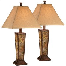 Exceptional Designs by Flash Eloise Leaf Motif Poly Table Lamp,Set of 2